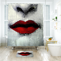 Sexy Lips Shower Curtain Waterproof Polyester Fabric & Bath Mat For Bathroom - $16.30+