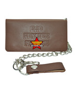 BMF Embossed Leather Bi-Fold Wallet with chain Brown Leather Biker Wallet - $37.50