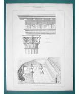 ARCHITECTURE PRINT 1869: GREECE Eleusis Lesser Propylaea Capital & Archi... - $22.95