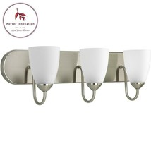 Gather 3-Light Brushed Nickel Fluorescent Bathroom Vanity Light With Glass Shade - $91.59