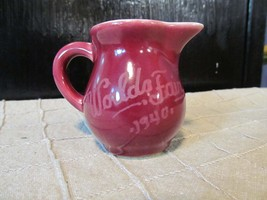 "Vintage Miniature 2 1/4"" Red Pottery Pitcher 1940 World's Fair - Cream P... - $15.90"