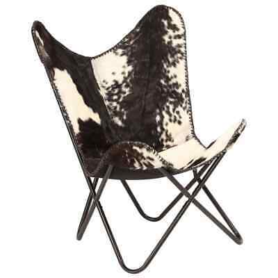 vidaXL Genuine Goat Leather Butterfly Chair Black White Armchair Furniture image 11