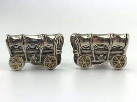 Covered Wagon Clip On Earrings Signed Best Vintage Jewelry Western 1980's - $9.90