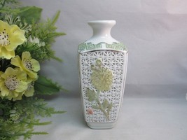 Vtg Chinese pierced porcelain bud vase. Makers mark on bottom. Gorgeous - $15.99