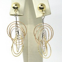 18K YELLOW WHITE ROSE GOLD PENDANT EARRINGS MULTIPLE WORKED CIRCLES SPIRAL 4cm,  image 2