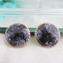 Vintage 2 Tone Purple Glittery Swirl Enamel Disk Earrings Gold Plate Pie... - $11.69