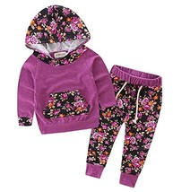 Baby Girls Floral Hoodie+ Floral Pant Set Leggings 2 Piece Outfits 6-12M... - $16.49