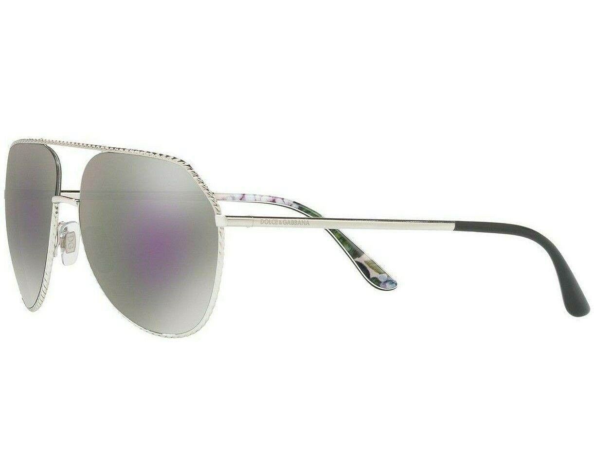 Dolce & Gabbana Pilot DG2191  Silver Frame Lilac Grey Mirror Lens Sunglasses image 3