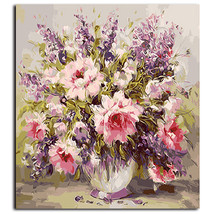 "Paint By Number Kit Mix Flower Vase Bouquet Floral DIY Picture 16x20"" Ca... - $12.12"