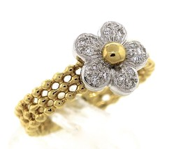 Lovely Ladies Fortunoff 18K Yellow Gold Diamond Flower Floral Beaded Ban... - $399.95