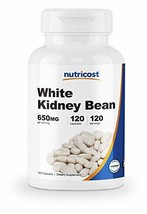 Nutricost White Kidney Beans Capsules 650mg 120 Capsules - Veggie Caps, Gluten F