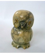 Vintage Hand Carved Marble Stone Owl Figurine Serpentine Green Glass Eye... - $24.74