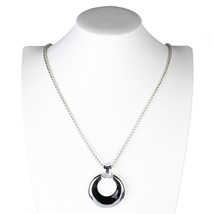 UE- Trendy Silver Tone Designer Necklace & Circular Pendant With Jet Black Inlay - $21.99