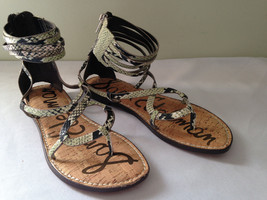 NEW! Sam Edelman Snakeskin GLENDA Gladiator Ankle Strappy Flats Sandals 6.5 M - $79.00