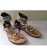 NEW! Sam Edelman Snakeskin GLENDA Gladiator Ankle Strappy Flats Sandals ... - $47.40