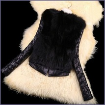 Black PU Leather Long Sleeve Faux Fur Vest Back n Front Short Waist Coat Jacket  image 3