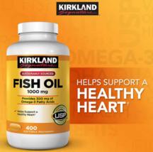 Kirkland Signature Fish Oil 1000mg 400 Softgels Heart Health (USP Verifi... - $99.89