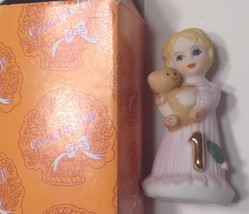 Enesco Growing Up Birthday Girl Age 1 Blonde Pink Dress New in Box - $9.85