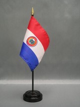 """Paraguay 4X6"""" Table Top Flag W/ Base New Desk Top Handheld Stick Flag - $4.95"""