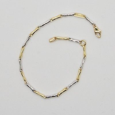18k YELLOW & WHITE GOLD BRACELET FOR KIDS CHILD WITH TUBE 6.7 IN MADE IN ITALY