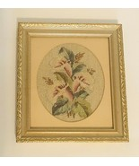 Vintage Framed Floral Needlepoint Wall ArtIris Flowers Matted Gold Wood... - $14.80