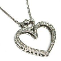 SOLID 18K WHITE GOLD NECKLACE, DOUBLE BIG HEART DIAMONDS, DIAMOND MADE IN ITALY image 1
