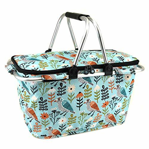 scarlettsbags Whimsical Bird Print Metal Frame Insulated Market Tote Blue