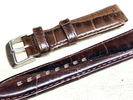 Genuine leather watch band 18mm special cut 22mm Vintage alligator grain - $21.12