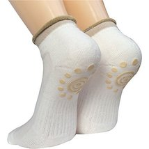 Lantee Non Slip Skid Yoga Pilates Socks with Grips Cotton for Women, White - $9.99