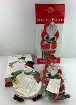 Fitz & Floyd Snack Therapy Holiday Wishes Christmas Bowls Plate Decor NEW B78  - $19.29