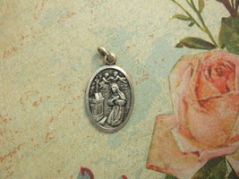 Vintage Catholic medal ST. RITA CASCIA 26mm silver finish from Italy - $13.09