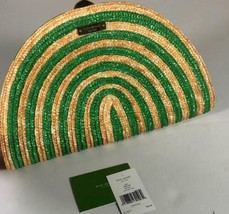 Kate Spade handbag clutch Lawn Party Raine Straw Beige Green NEW NWOT - $225.00
