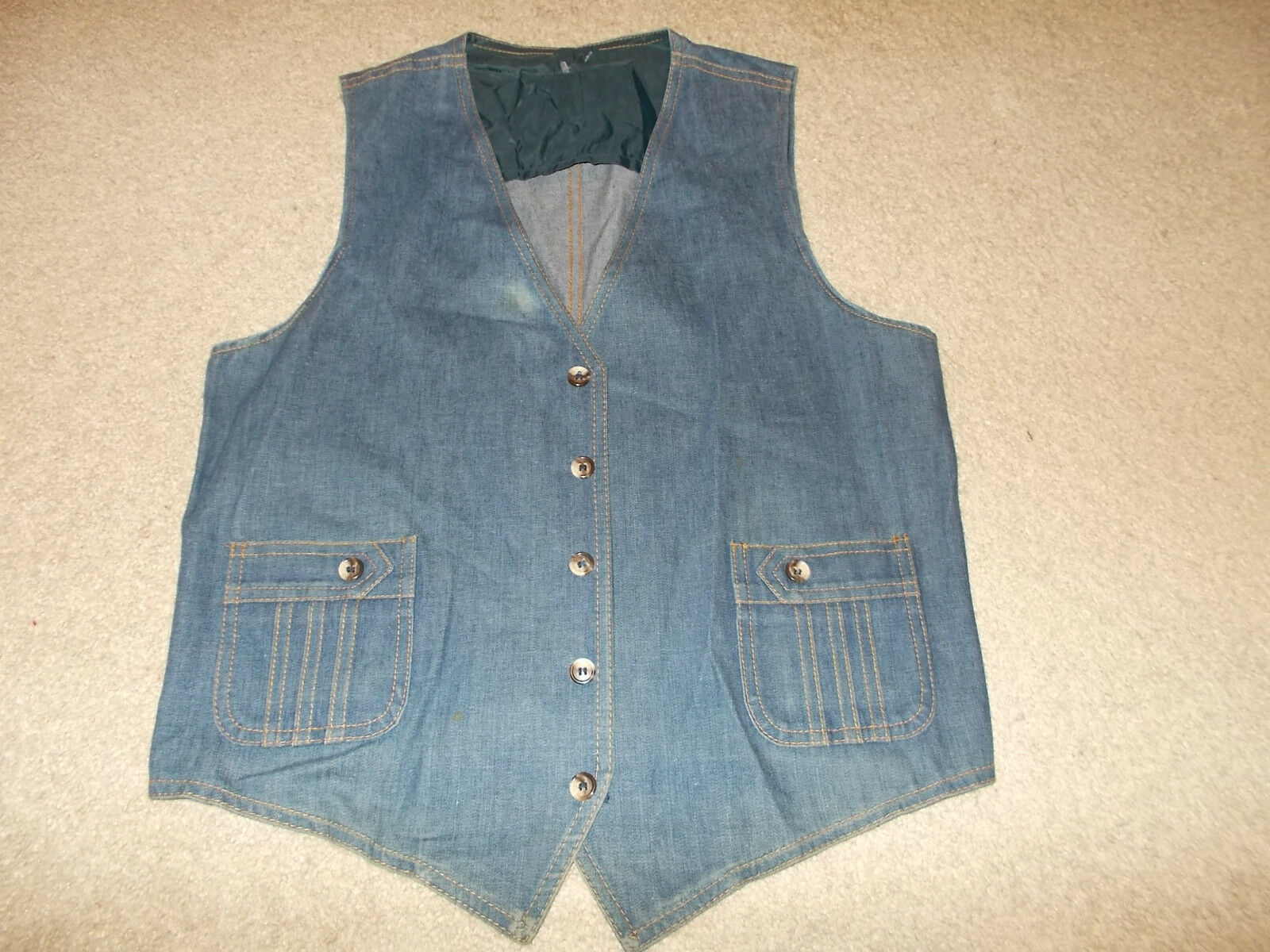 Primary image for VTG-1970s Lee Set Denim Jean Vest Sanforized Sanfor set Waistcoat 42R