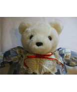 White Teddy Bear In Country Outfit 21 Inch Tall - $15.83