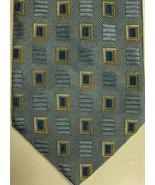 Neuf Ermenegildo Zegna Bleu Clair Avec Or Et Bleu Foncé Carrés Cravate I... - $89.98