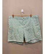 Khakis by GAP The Boyfriend Shorts Green White Chevron Striped Size 18 - £16.44 GBP