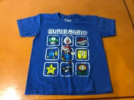 Boys Kids Super Mario Bros Brothers Blue T-Shirt Size XS 5/6 Cotton Blend - $4.94