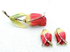 VTG BSK Pink Yellow Enameled Clear Rhinestone Rose Brooch Pin Earring Set - $34.65