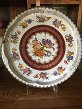 "Vintage Daher Decorated Ware 16"" Round Metal Floral Tray Made In England... - $9.95"