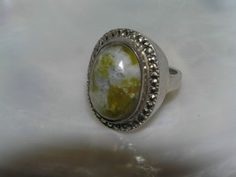 Estate Signed Large Oval Green Stone Rimmed in Marcasite Sterling Silver... - $27.94