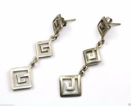 Vintage Maze Greek Key Three Dangle Earrings 925 Sterling Er 366 - $22.45