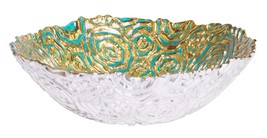 Turquoise Centerpiece Round Serving Platter Tray Catch-All Dish with Gol... - $29.63