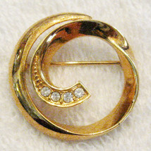"Avon Classic Circle Scatter Pin 1"" Gold Plated Rhinestone Brooch ✿ VTG 1... - $19.76"