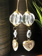 Gold Heart Drop Clear Plastic Faceted Bauble Christmas Ornaments Vtg Lot... - $5.93
