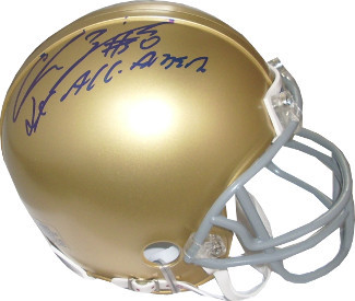 Chris Zorich signed Notre Dame Fighting Irish Mini Helmet 2X All American