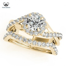 925 Silver Yellow Gold Plated Infinity Style Bridal Ring Set Round Cut Diamond - $84.99