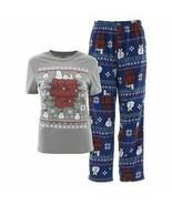 Men Peanuts Snoopy Charlie Brown Christmas Snowman 2-Piece Pajama Set PJ... - $28.95
