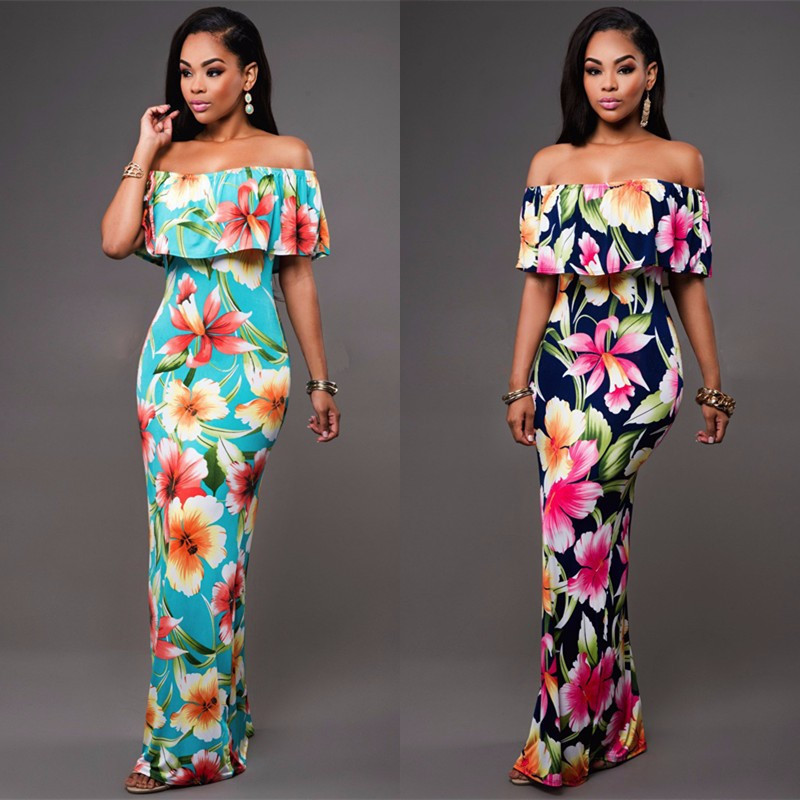 Ruffle Off Shoulder Maxi Dress At Bling Brides Bouquet Online Bridal Store