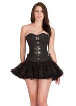 Black Brocade Leather Piping  Waist Training  Overbust Tutu Skirt Corset Dress - $69.62