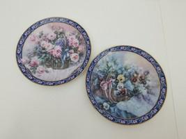 "Lena Liu Plates Lot of 2 Roses & Pansies 1992 W.S. George China 8.25"" Li... - $14.50"